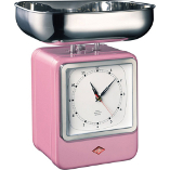 Image of Wesco Pink Steel Retro Mechanical Kitchen Scale